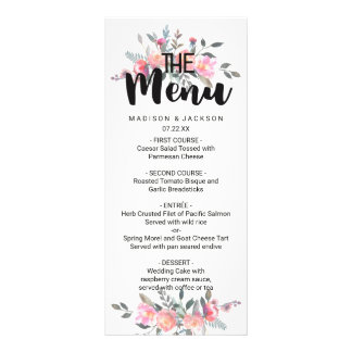 Chic Watercolor Peony Floral Wedding Menu Full Color Rack Card