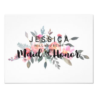 Chic Watercolor Peony Will You Be My Maid of Honor Card