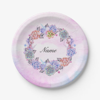 Chic Watercolor Succulents Wreath 7 Inch Paper Plate