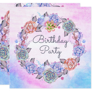 Chic Watercolor Succulents Wreath Birthday Party Card