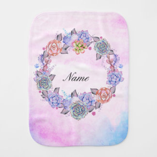 Chic Watercolor Succulents Wreath Burp Cloth