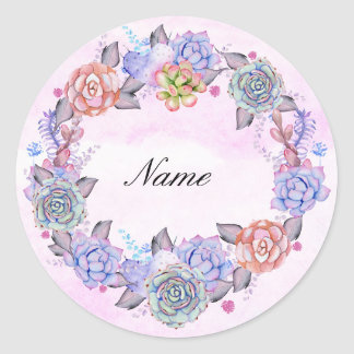 Chic Watercolor Succulents Wreath Classic Round Sticker