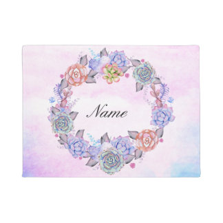 Chic Watercolor Succulents Wreath Doormat