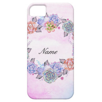 Chic Watercolor Succulents Wreath iPhone 5 Covers