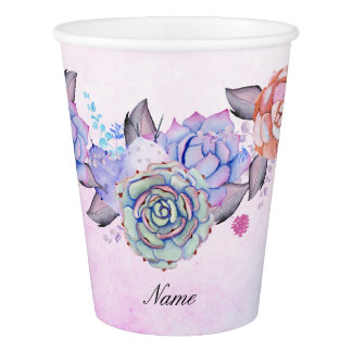 Chic Watercolor Succulents Wreath Paper Cup