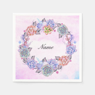 Chic Watercolor Succulents Wreath Paper Napkin