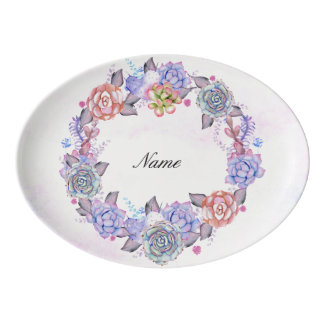 Chic Watercolor Succulents Wreath Porcelain Serving Platter