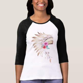 Chic Watercolor Tribal Floral Indian Headdress T-Shirt