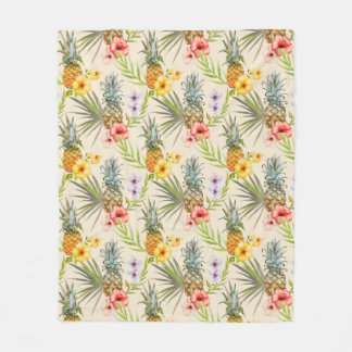 Chic Watercolor Tropical Flowers Leaves Pineapple Fleece Blanket