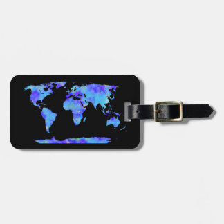 Chic Watercolor World Map Custom Monogram Luggage Tag