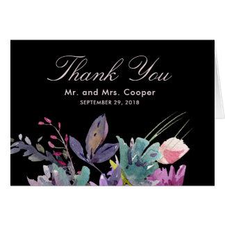 Chic watercolour meadow floral black wedding card