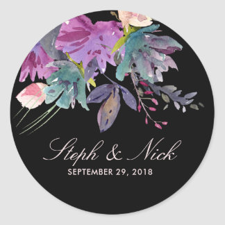 Chic watercolour meadow floral black wedding classic round sticker