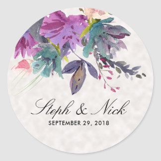 Chic watercolour meadow floral pearl wedding classic round sticker