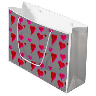 Chic Watercolour Pink Hearts Gift Bag, Large Gift Bag