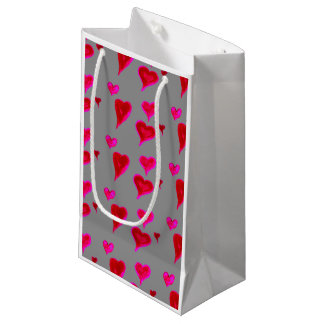 Chic Watercolour Pink Hearts Gift Bag, Small Gift Bag