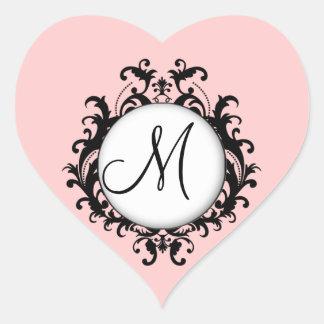 Chic Wedding Initial Damask Label Pink Heart Heart Sticker