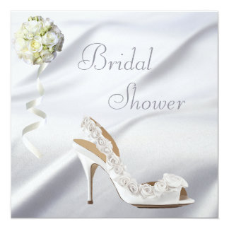 Chic Wedding Shoe & Bouquet Bridal Shower 13 Cm X 13 Cm Square Invitation Card
