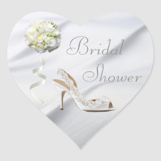 Chic Wedding Shoe & Bouquet Bridal Shower Heart Sticker