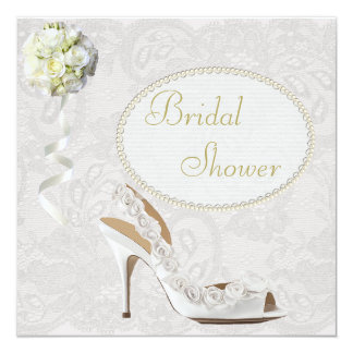 Chic Wedding Shoe Paisley Lace Bridal Shower 5.25x5.25 Square Paper Invitation Card