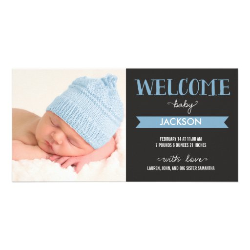 Chic Welcome Baby Boy Birth Announcement Photo Card Template