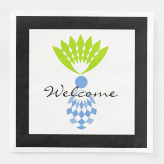 "CHIC ""Welcome""  MOD TROPICAL BLUE  PINEAPPLE Disposable Napkins"