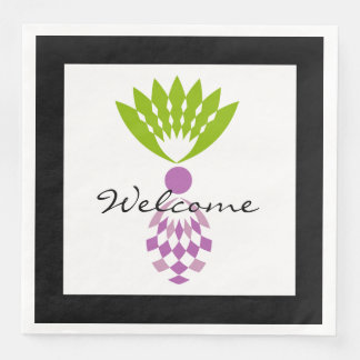 "CHIC ""Welcome""  MOD TROPICAL PURPLE PINEAPPLE Paper Serviettes"