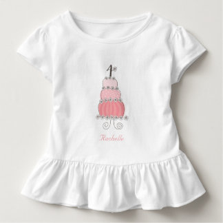 Chic Whimsical Pink Cake Girl's 4th Birthday Party Toddler T-Shirt