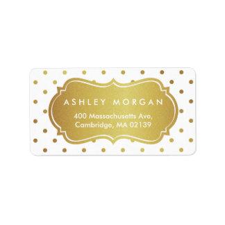 Chic White and Gold Glitter Polka Dots Address Label