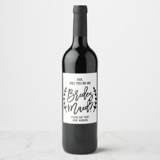 Chic White Black Branch Will You Be My Bridesmaid Wine Label