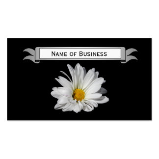 Chic White Daisy on Black Background With Name Business Cards