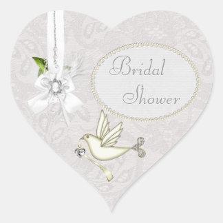 Chic White Dove Paisley Lace & Cameo Bridal Shower Heart Sticker