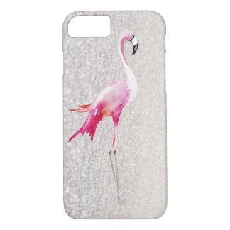 Chic white faux glitter pink watercolor flamingo iPhone 8/7 case