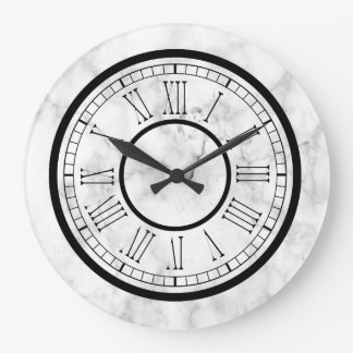 Chic White Faux Marble Large Clock