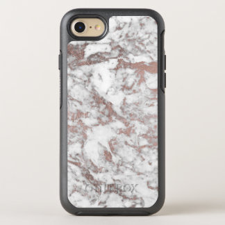 Chic white faux rose gold modern marble OtterBox symmetry iPhone 7 case