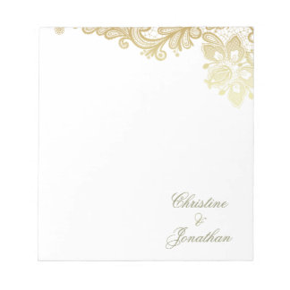 Chic White & Gold Foil Floral Lace Wedding Notepad