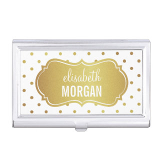 Chic White Gold Glitter Frame with Polka Dots Business Card Holder