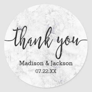 Chic White & Gray Marble Wedding Favor Classic Round Sticker