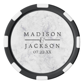Chic White & Gray Marble Wedding Favor Poker Chips