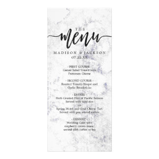 Chic White & Gray Marble Wedding Menu Rack Card Design