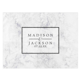 Chic White & Gray Marble Wedding Monogram Tablecloth
