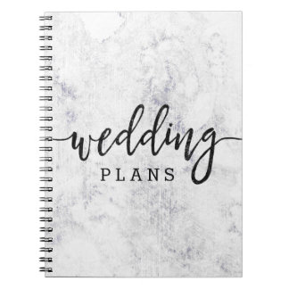 Chic White & Gray Marble Wedding Planner Spiral Notebook