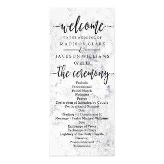 Chic White & Gray Marble Wedding Program