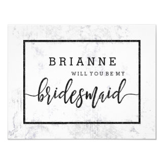 Chic White & Gray Marble Will You Be My Bridesmaid Card