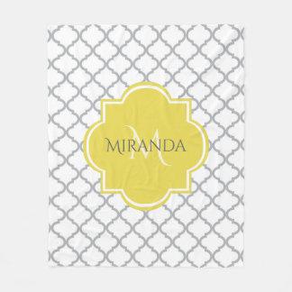 Chic White Gray Quatrefoil Yellow Monogrammed Name Fleece Blanket