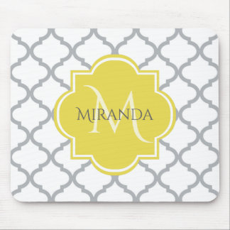 Chic White Gray Quatrefoil Yellow Monogrammed Name Mouse Pad