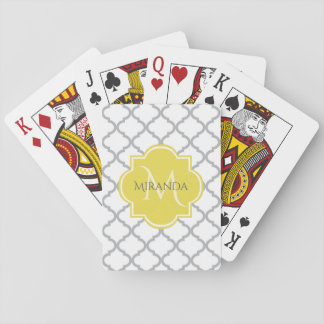 Chic White Gray Quatrefoil Yellow Monogrammed Name Playing Cards