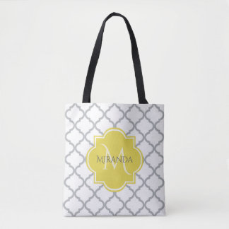 Chic White Gray Quatrefoil Yellow Monogrammed Name Tote Bag