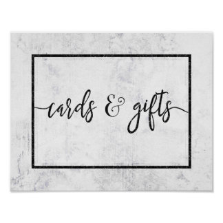 Chic White & Grey Marble Wedding Cards & Gifts Poster