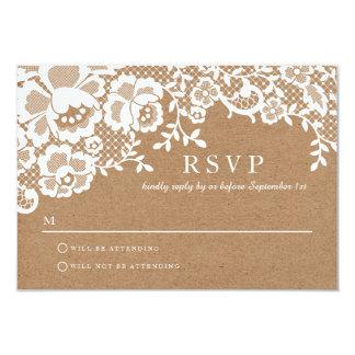 Chic White Lace & Kraft Formal Wedding RSVP 9 Cm X 13 Cm Invitation Card