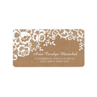 Chic White Lace & Kraft Personalized Address Label